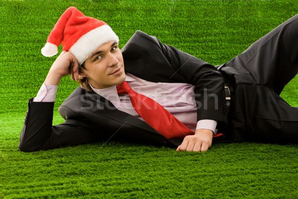 Stock fotó: Nyugodt · férfi · kép · elégedett · üzletember · mikulás