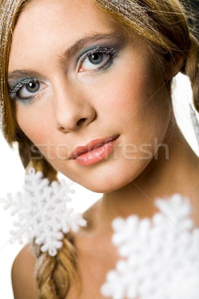 Stockfoto: Winter · bekoring · mooie · vrouw · ingericht · sneeuwvlokken · naar