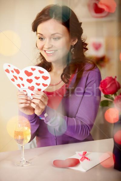 Stok fotoğraf: Valentine · genç · kız · restoran · kız