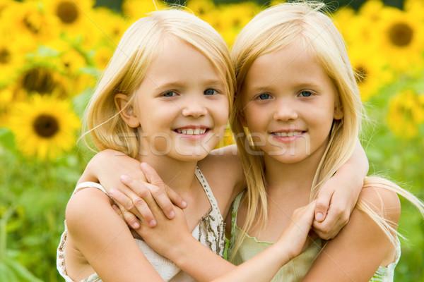 Zusters portret cute tweelingen Stockfoto © pressmaster