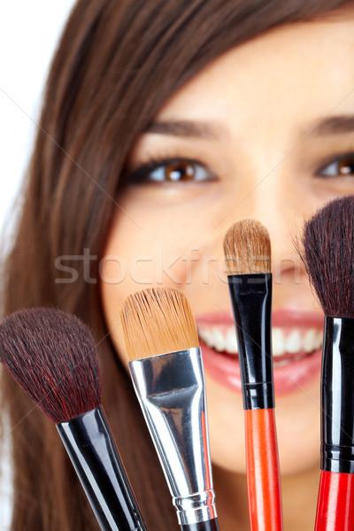 Cosmetische vrouwelijke gezicht achter vrouw Stockfoto © pressmaster