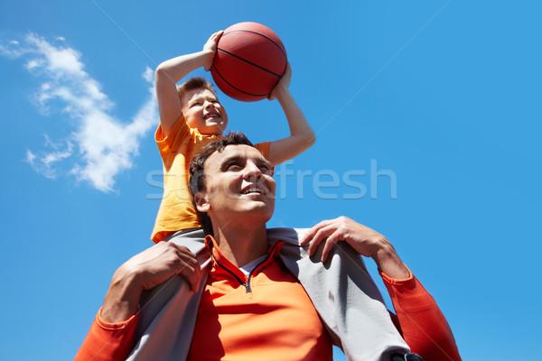 Foto stock: Basquetebol · jogadores · imagem · moço · filho · jogar