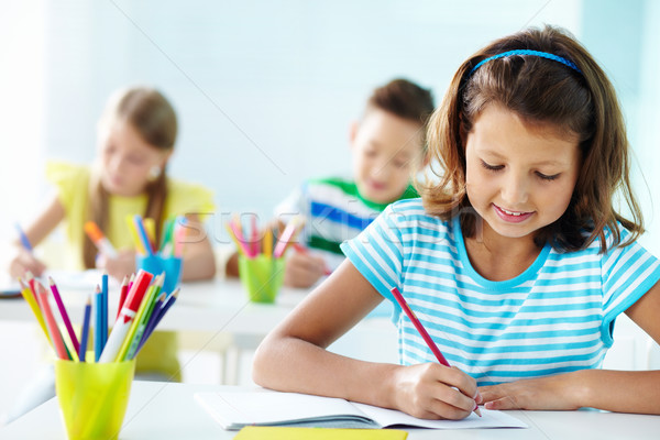 Photo stock: Fille · dessin · portrait · travail · étudiant · crayon