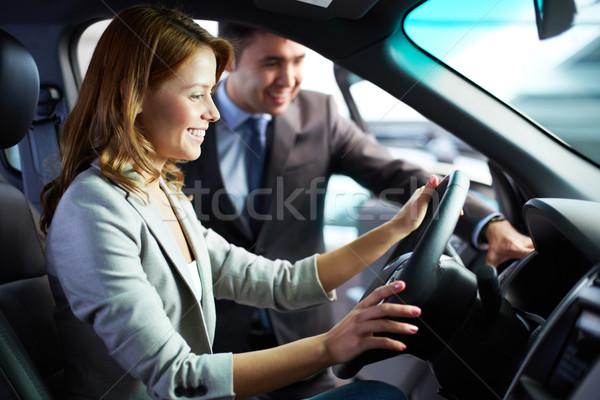Modern fülke fiatal nő ül autó élvezi Stock fotó © pressmaster