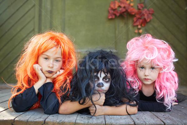ハロウィン 友達 肖像 3  女の子 見える ストックフォト © pressmaster