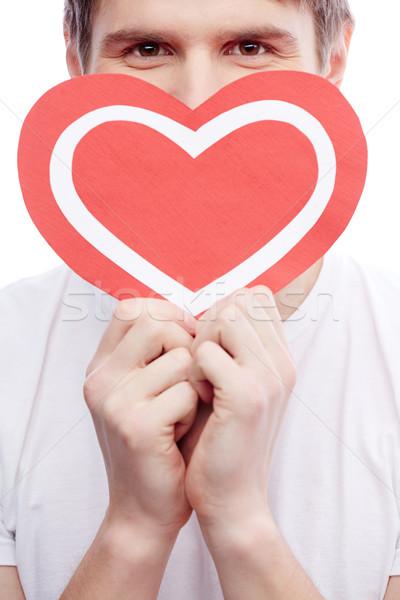 Сток-фото: парень · сердце · портрет · молодым · человеком · бумаги