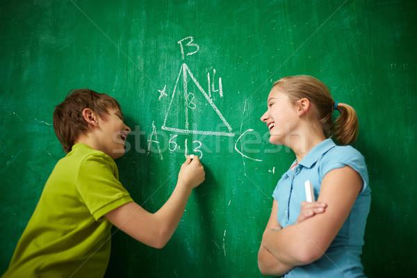 örömteli osztálytársak portré kettő iskolatábla lecke Stock fotó © pressmaster