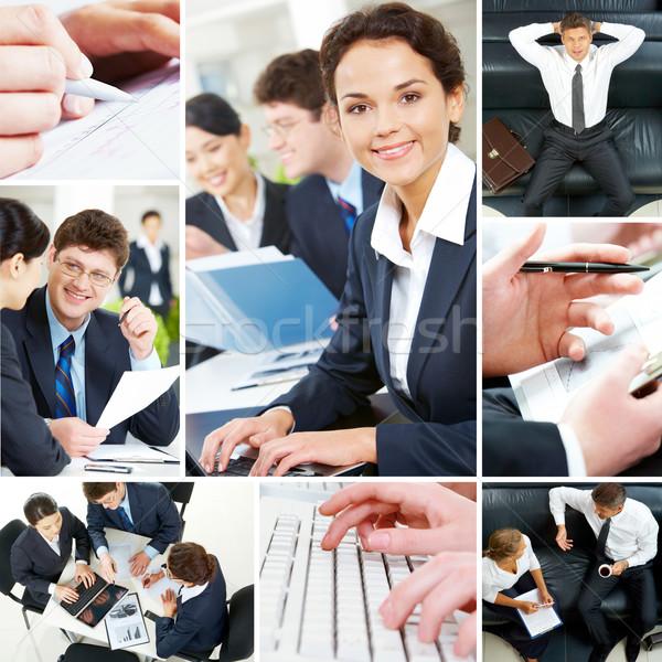Zdjęcia stock: Zestaw · ludzi · biznesu · obraz · kobieta · pracy · klawiatury