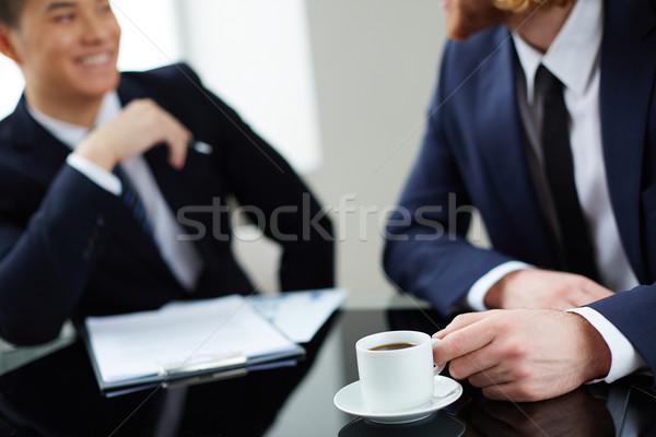 Amigável conversa dois bem sucedido escritório Foto stock © pressmaster