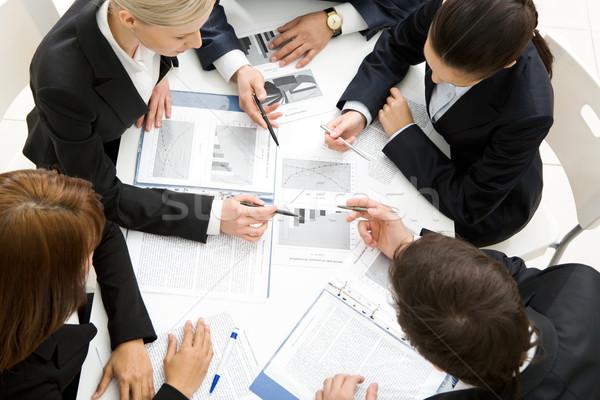 Stock fotó: Megbeszél · terv · fölött · kilátás · sikeres · új