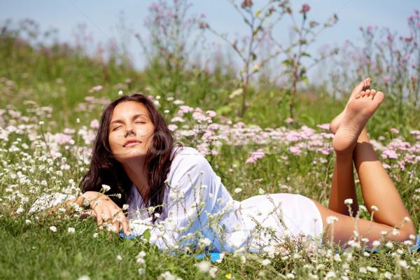 Мечты портрет довольно девушки поляна Сток-фото © pressmaster