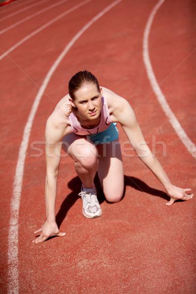 Versenyző kép női kész kezdet fut Stock fotó © pressmaster