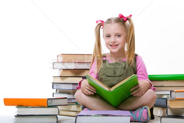 Kız kitaplar görüntü mutlu güzel oturma Stok fotoğraf © pressmaster