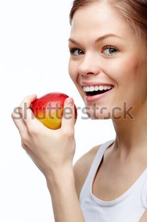 Photo stock: Saine · dents · portrait · jeune · fille · pomme
