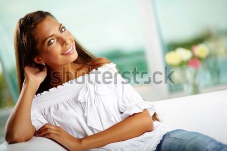 女性 ランジェリー 幸せ 若い女性 ベッド 見える ストックフォト © pressmaster