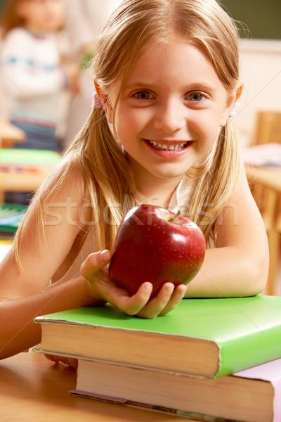 Сток-фото: девушки · яблоко · портрет · счастливым · довольно