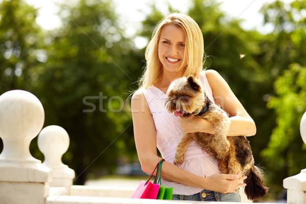 Girl with yorkie Stock photo © pressmaster