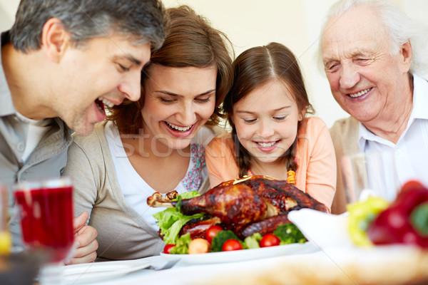 Ação de graças Turquia retrato família feliz sessão Foto stock © pressmaster