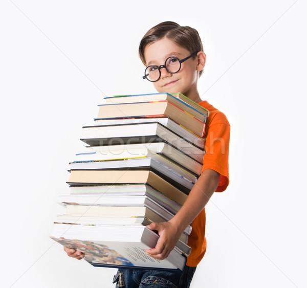 Сток-фото: студент · портрет · прилежный · очки · куча · книгах