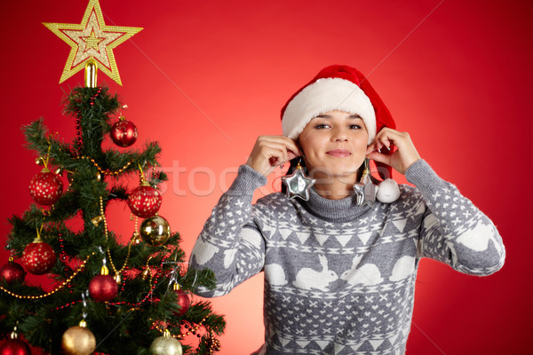 Christmas earrings Stock photo © pressmaster