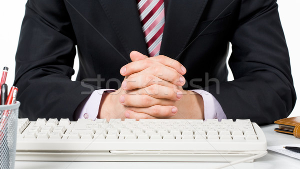 Gebaar afbeelding mannelijke handen samen toetsenbord Stockfoto © pressmaster