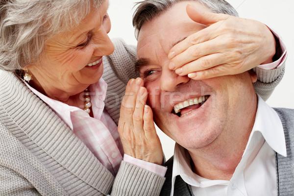 Saamhorigheid mooie senior vrouw ogen familie Stockfoto © pressmaster