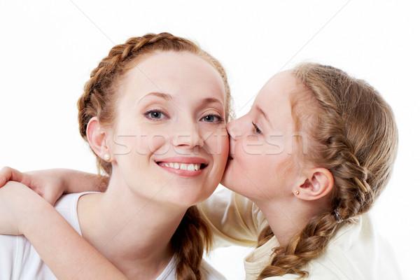 Kinderachtig liefde portret mooie meisje zoenen Stockfoto © pressmaster