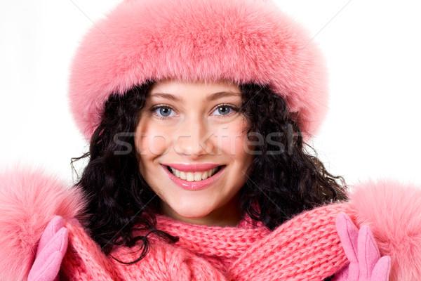 Foto stock: Invierno · moda · cara · mujer · bonita · rosa