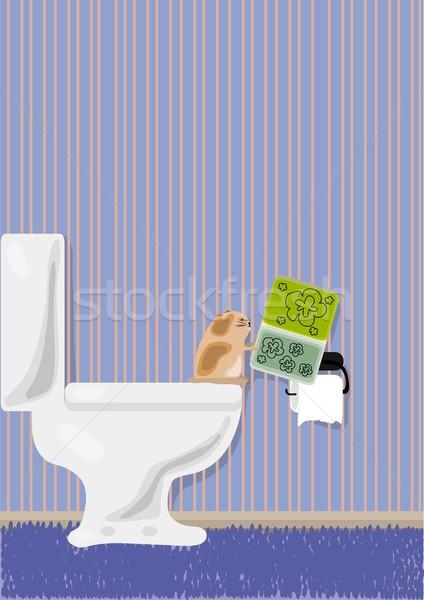 Hamster lezing magazine toilet achtergrond kunst Stockfoto © pressmaster