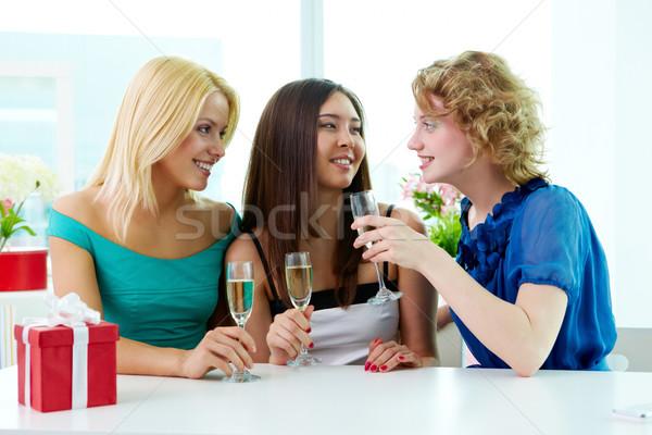 Stok fotoğraf: Içme · üç · oturma · kafe · şampanya