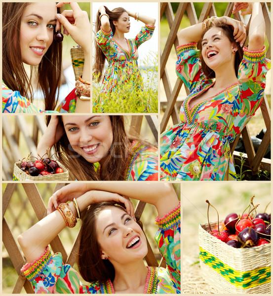 Chica de campo collage nina país ropa relajante Foto stock © pressmaster