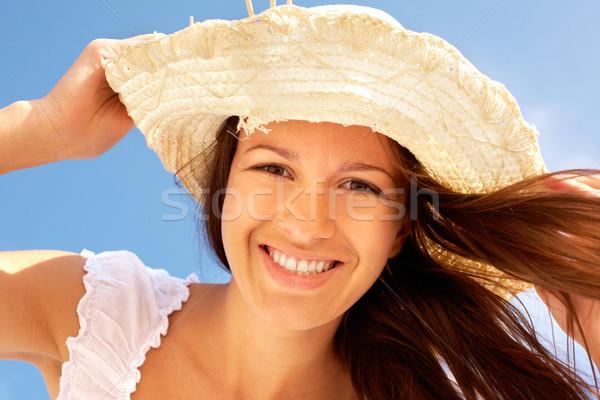 Zomer glimlach portret glimlachend meisje Stockfoto © pressmaster