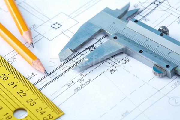 Potloden papier gebouw metaal tabel Stockfoto © pressmaster