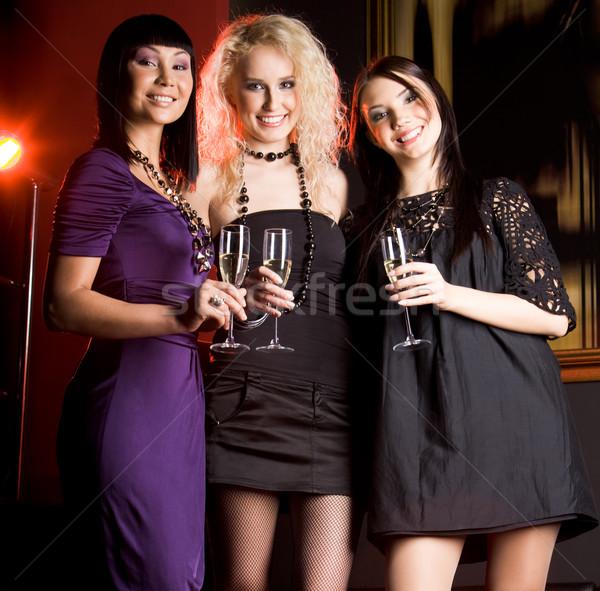 Divatos lányok portré hölgyek pezsgő karácsony Stock fotó © pressmaster