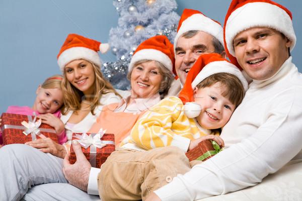 Genegenheid portret gelukkig gezin christmas familie Stockfoto © pressmaster
