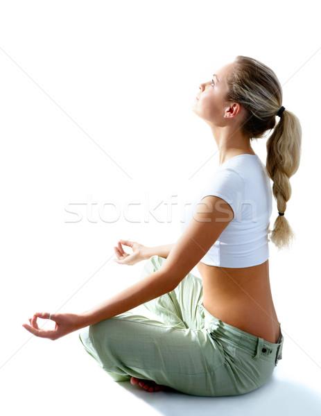 Stockfoto: Energie · aantrekkelijke · vrouw · mediteren · pose · lotus · naar