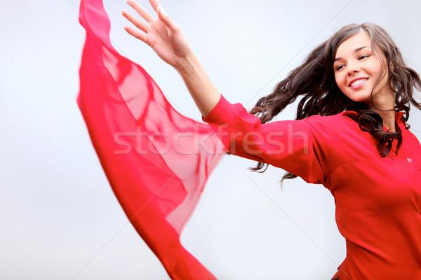 Kumaş kız kırmızı kadın ışık Stok fotoğraf © pressmaster