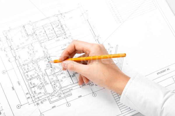 Mérnöki munka kép emberi kéz ceruza készít Stock fotó © pressmaster