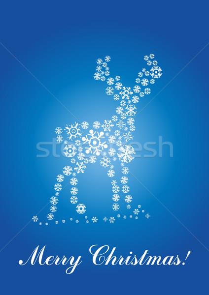 Reekalf sneeuwvlokken tekst natuur ontwerp sneeuw Stockfoto © pressmaster