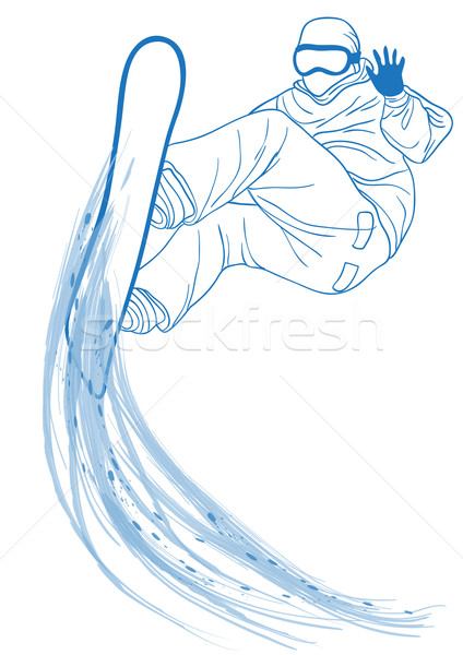 Snowboarder jumping blu silhouette uomo sport Foto d'archivio © pressmaster