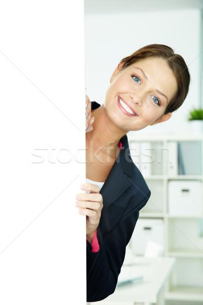 Foto stock: Feliz · femenino · retrato · mujer · de · negocios · fuera · negocios