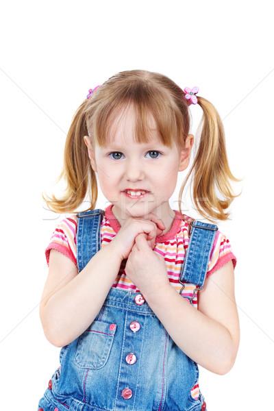 Denim verticaal portret zoete meisje Stockfoto © pressmaster