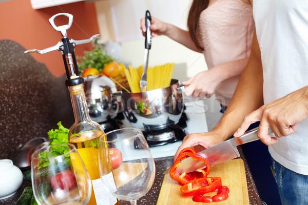 Stok fotoğraf: Biber · genç · eş · pişirme