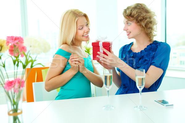 Meglepetés bájos lány meglepő barát ajándék Stock fotó © pressmaster
