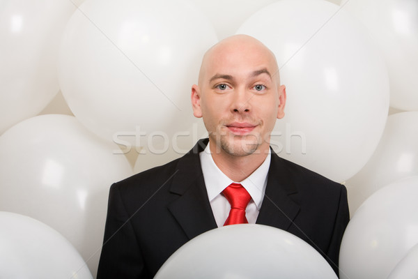 Foto stock: Alegre · masculina · guapo · empresario · muchos · globos