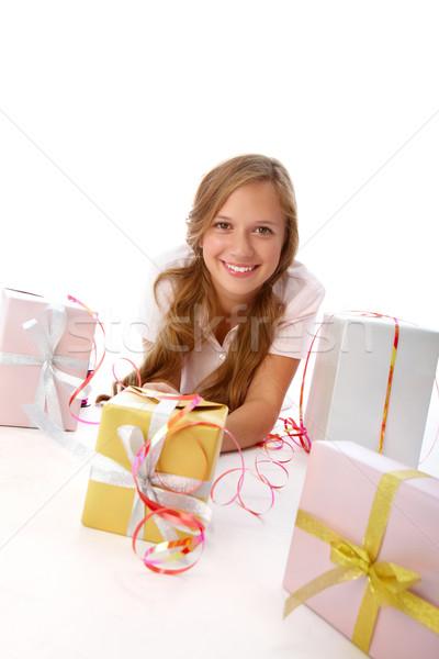 Girl with giftboxes Stock photo © pressmaster