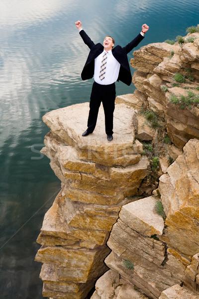 счастливым Scream портрет бизнесмен кричали Постоянный Сток-фото © pressmaster