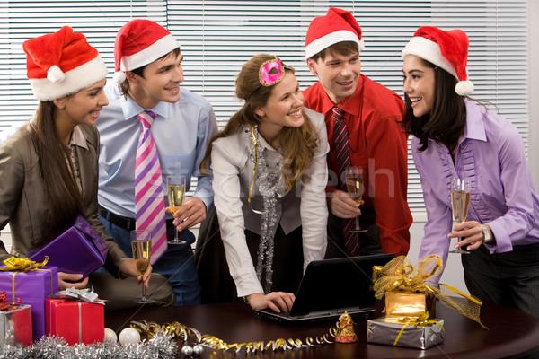 Stockfoto: Viering · portret · gelukkig · zakenlieden · vieren