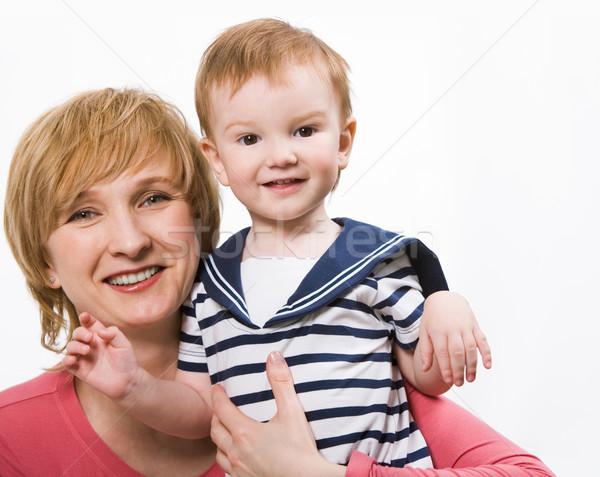 Stockfoto: Moeder · zoon · portret · blijde · vrouwelijke