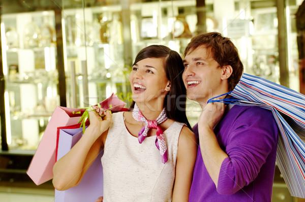 Alışveriş şaşkınlık portre neşeli koca eş Stok fotoğraf © pressmaster